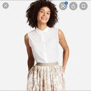 Uniqlo White Sleeveless Button Down Blouse